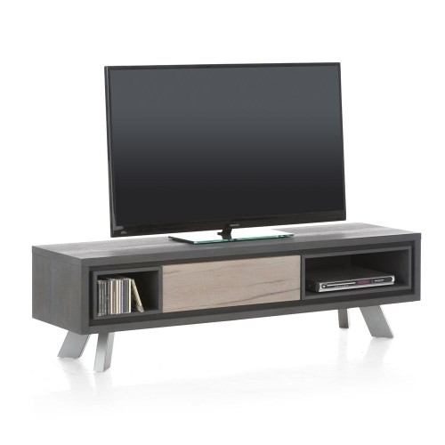 MEUBLE TV BAS 150 X 42 X 42 CM 1 PORTE BASCULANTE  2 NICHES