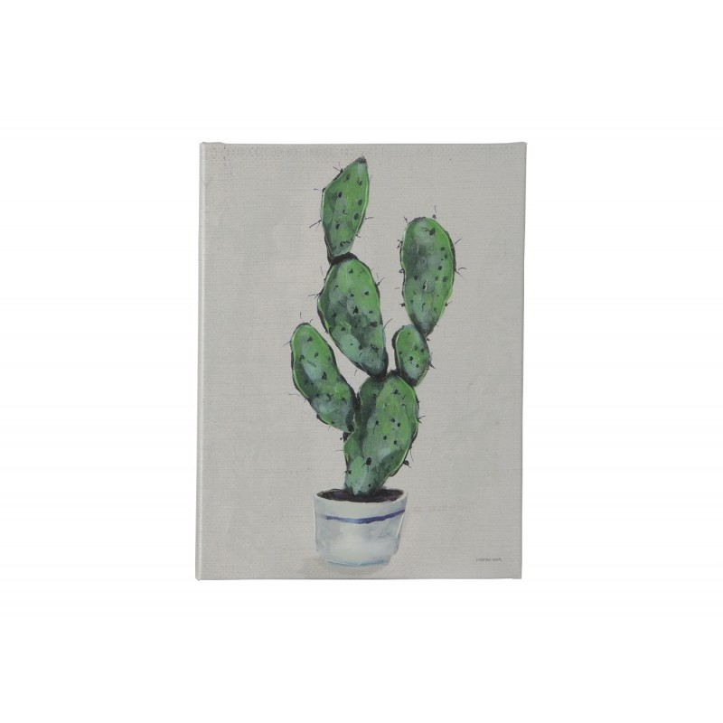 peinture sur toile repr sentant un cactus sur fond gris 60x45 cm. Black Bedroom Furniture Sets. Home Design Ideas