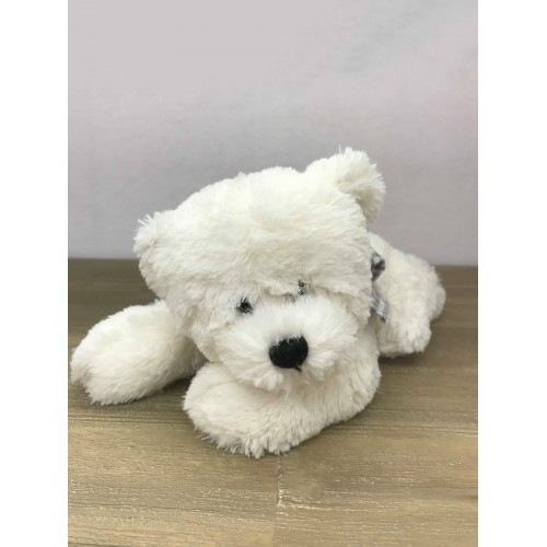 VITO-OURS 23 CM ALLONGE BLANC NOEUD