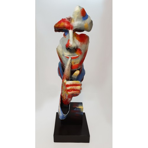 STATUE HOMME SILENCE PIGMENT METAL 71 CM