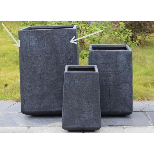 POT CARRE RESINE DE CIMENT 48X70.5 CM ANTHRACITE ET RELIEF