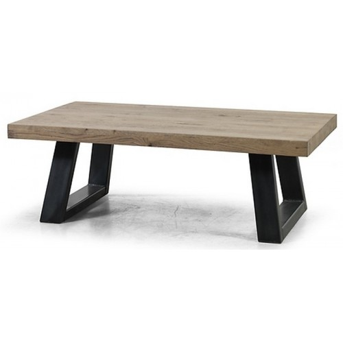 TABLE DE SALON CHENE MASSIF PIED FER NOIR 135X75X45 CM