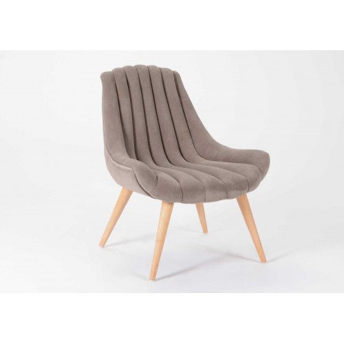 FAUTEUIL TUBE VELOUR TAUPE