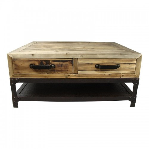 TABLE BASSE 100X70X45 VIEUX PIN RECYCLE VIEUX FER 4T