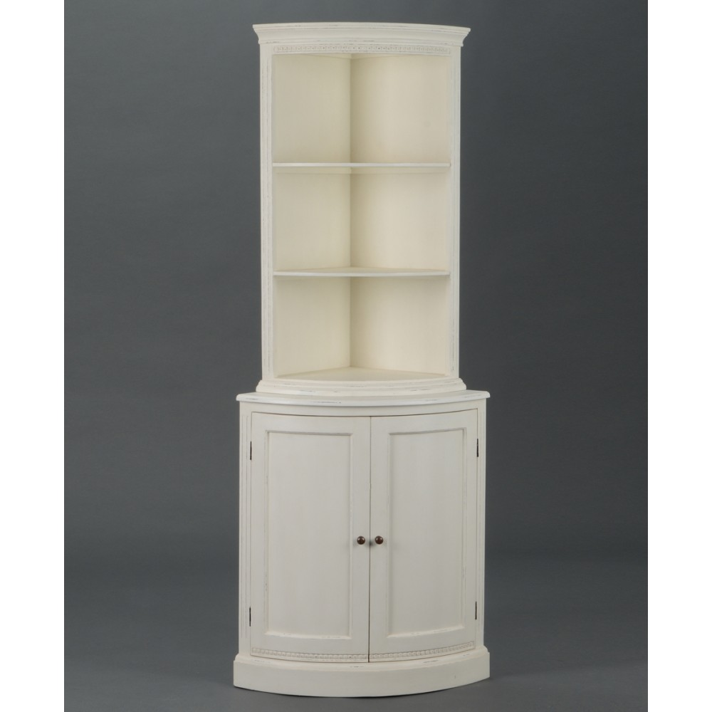meuble d 39 angle blanc perle vitrine ouverte et 2 portes arrondies. Black Bedroom Furniture Sets. Home Design Ideas