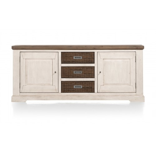 BUFFET BAS 2P 3T 190X80X45 ACACIA FRENCH WHITE ET WAGON GREY