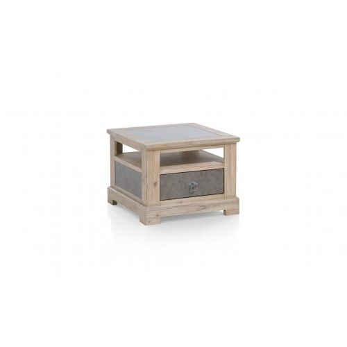 TABLE BOUT DE CANAPE OU SALON RAILWAY ACACIA 60 X 60 X 45 CM