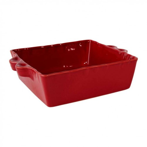 PLAT A FOUR CARRE ROUGE GRES 30 X 25.5 X 7.5 CM