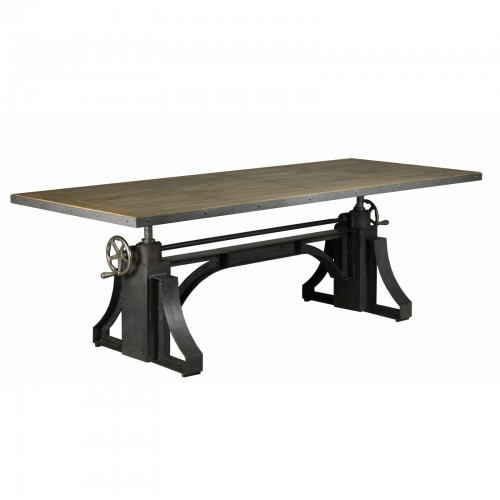 TABLE OU MANGE DEBOUT MANIVELLE EN METAL ET MANGUIER 231 X 101 X 73/109
