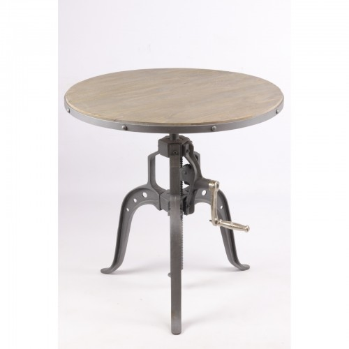 TABLE RONDE MANIVELLE DIAM 75 CM FER ET MANGUIER