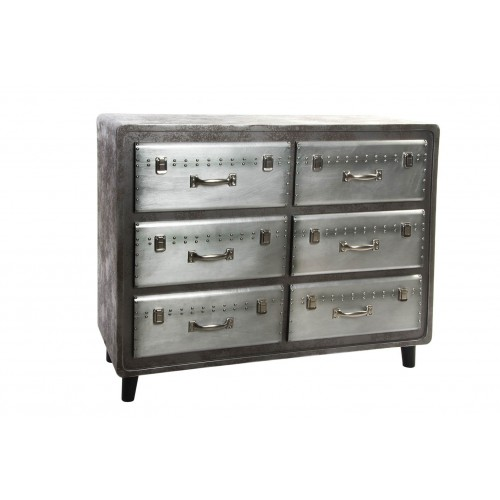 MEUBLE COMMODE 6 TIROIRS ASPECT METAL 106 X 42 X 87 CM