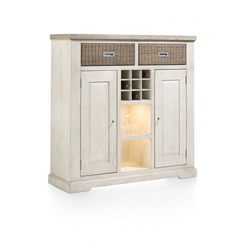 MEUBLE CABANA 2 NICHES 2 PORTES 2 TIROIRS 140X140X45