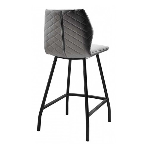 TABOURET REX PIED NOIR ET PU ANTHRACITE 43 X 50 X 96 CM