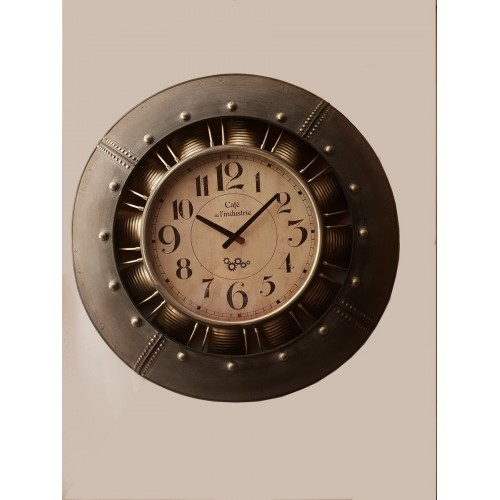 HORLOGE DECOR MOTEUR D AVION EN METAL DIAM 79 CM