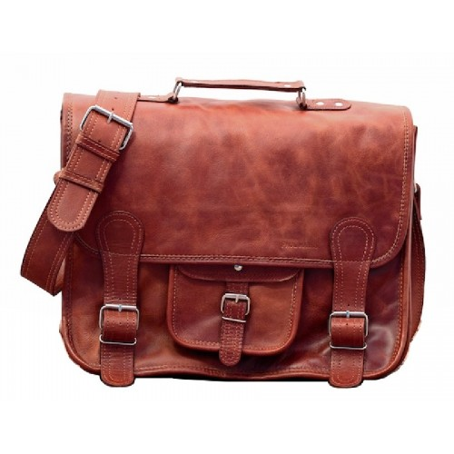 LE CARTABLE PAUL MARIUS TAILLE L CUIR NATUREL 40 X 30 X 15 CM