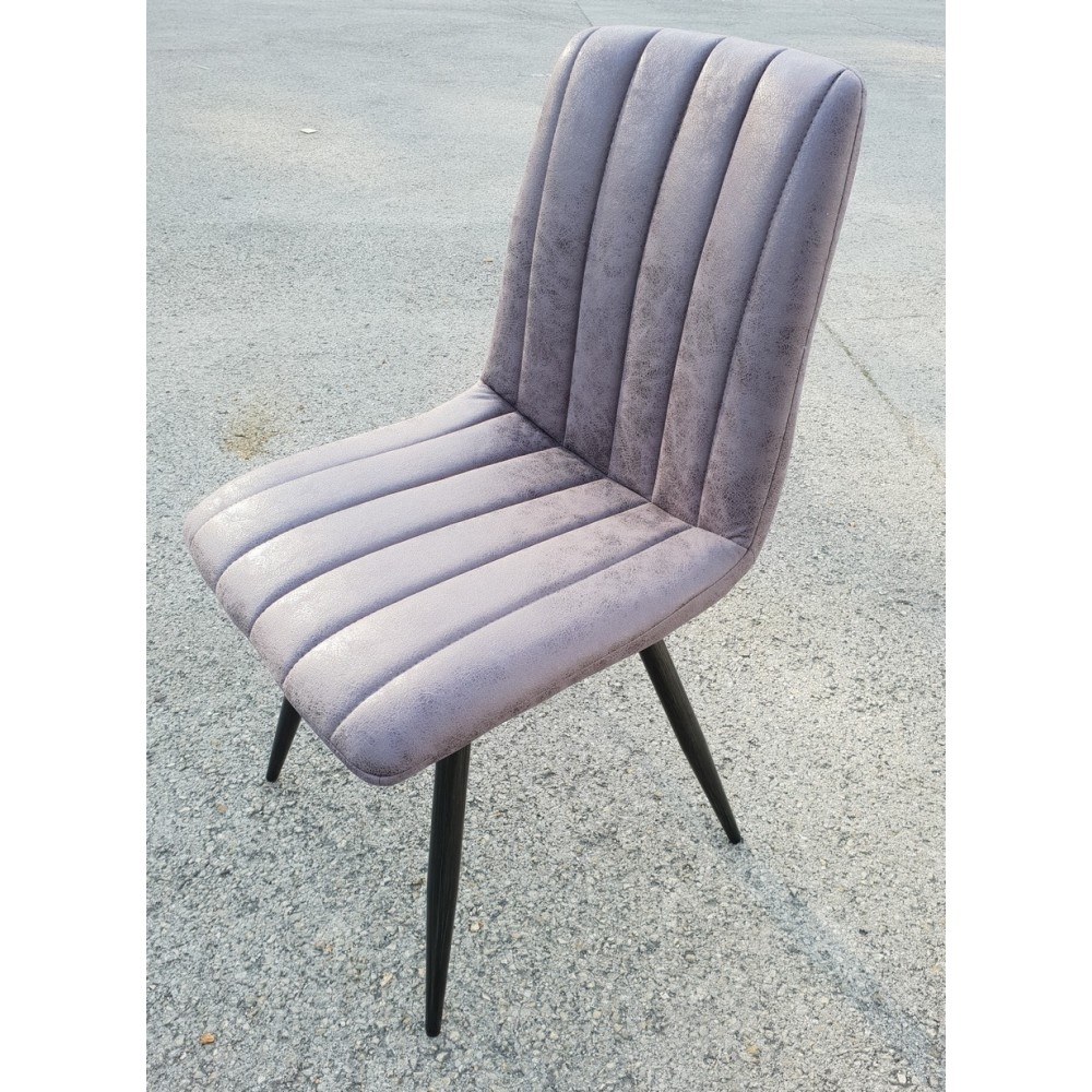 CHAISE GRISE PIED METAL 45 X 86 55 CM TISSU GRIS 100pourcent POLYESTER