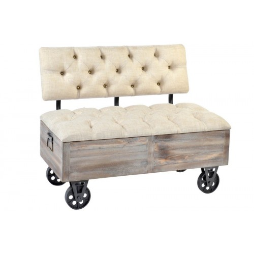 BANQUETTE SAPIN POLYESTER 101 X 51 X 77 ROULETTES