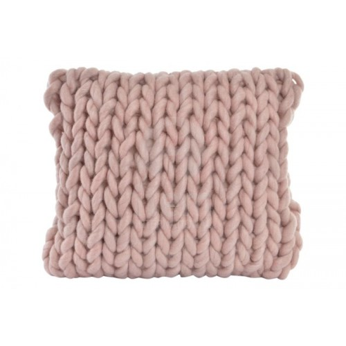 COUSSIN LAINE 45 X 45 CM  NOEUDS ROSE