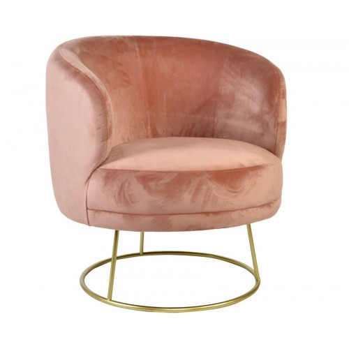 FAUTEUIL VELOURS ROSE POLYESTER METAL 78 X 72 X 81