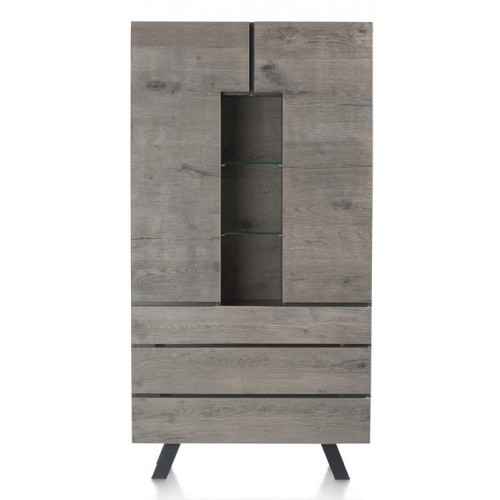 ARMOIRE HAUTE SARUNA 2 PORTES 3 TIROIRS 3 NICHES 190 X 42 X 100 CM MONTESSA GREY