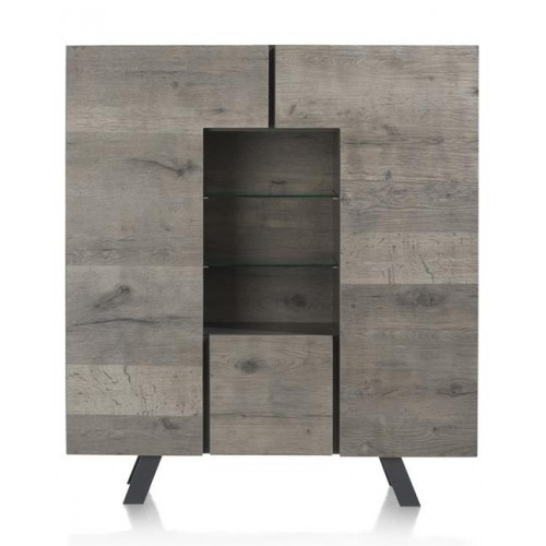 ARMOIRE SARUNA 2 PORTES 1 TIROIR 3 NICHES 140 X 42 X 125 CM MONTESSA GREY