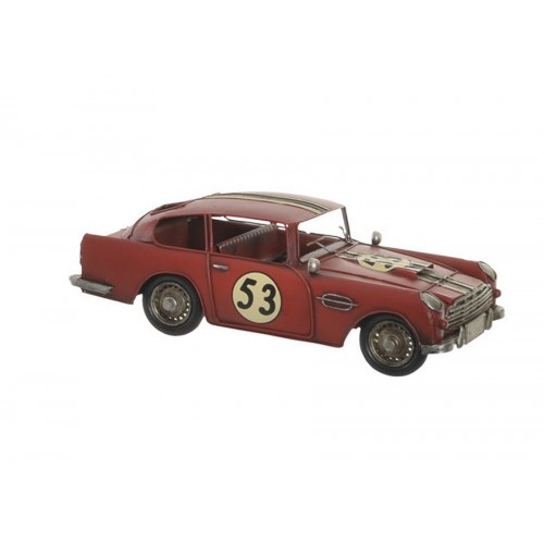 VOITURE DECORATIVE ANCIENNE ROUGE EN METAL 32 x 11 x 13 cm