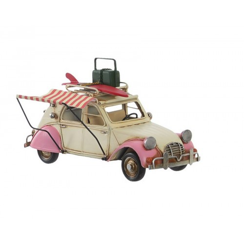 VOITURE DECORATIVE 2CV ROSE ET CREME METAL