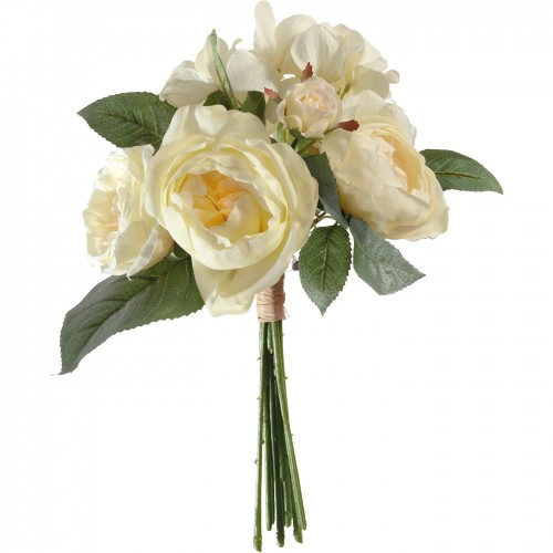 BOUQUET ROSE HORTENSIA CREME H 30