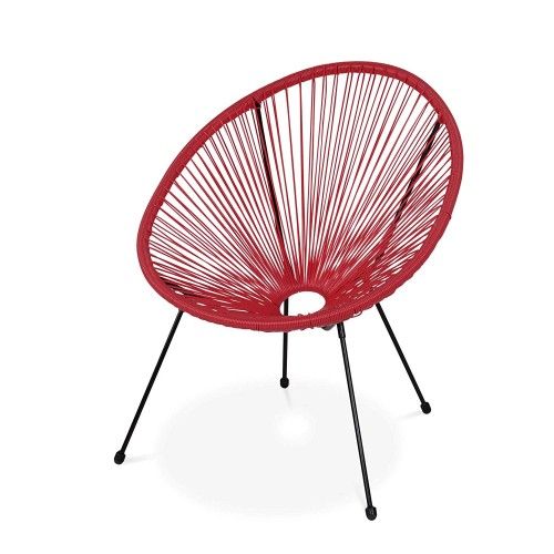 CHAISE OEUF ROUGE METAL NOIR ET PLASTIQUE POLYETHYLENE 70 X 60 X 89 CM
