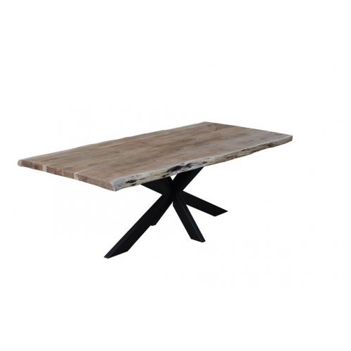 TABLE NEBEL ACACIA MASSIF BORD BRUT PIED DESTRUCTURE METAL NOIR 240 X 100 X 77 C