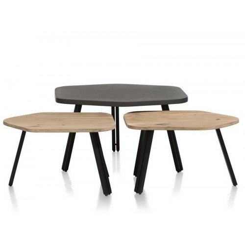 SET DE 3 TABLES DE SALON COLLECTION CLADIO 83 X 58 X 39 / 60 X 41 X 32 CM