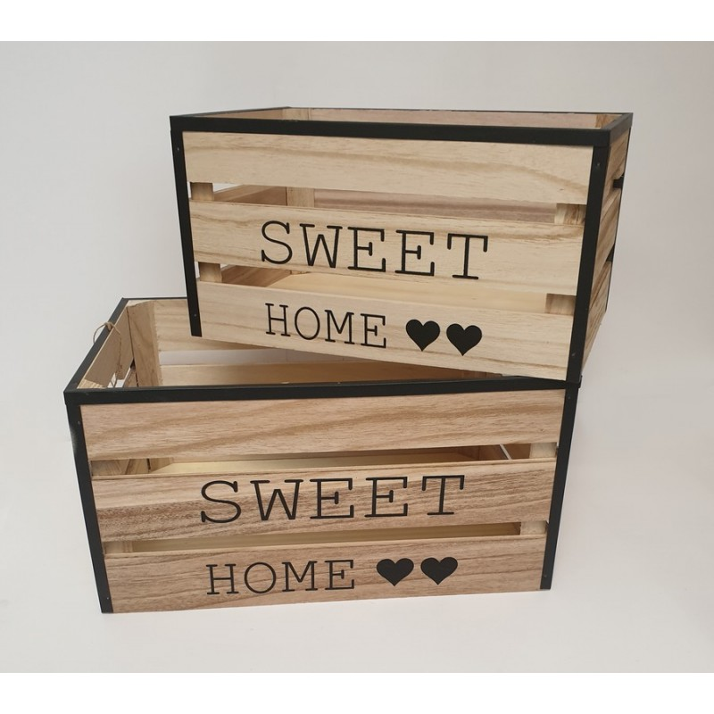 SET DE 2 CAISSES BOIS ET METAL 35 X 18 X 25 ET 30 X 16 X 20 SWEET HOME