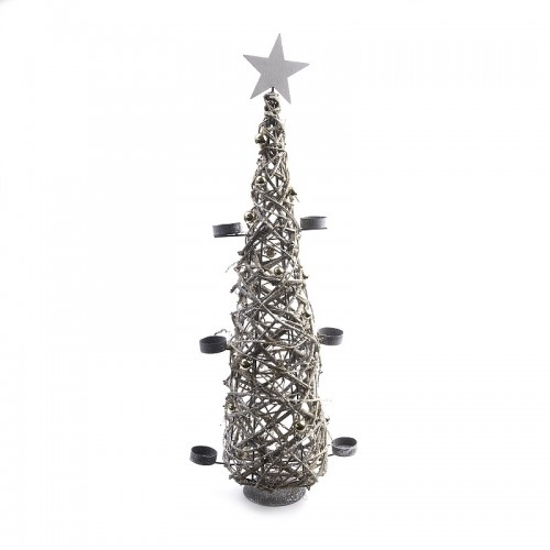 SAPIN CONE EN BRINDILLE SUR STRUCTURE METAL 6 BOUGEOIRS 71 CM