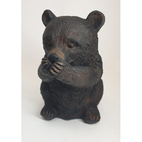 FIGURE OURS RUSTY EN RESINE MARRON SPEAK 21 x 19 x15 cm