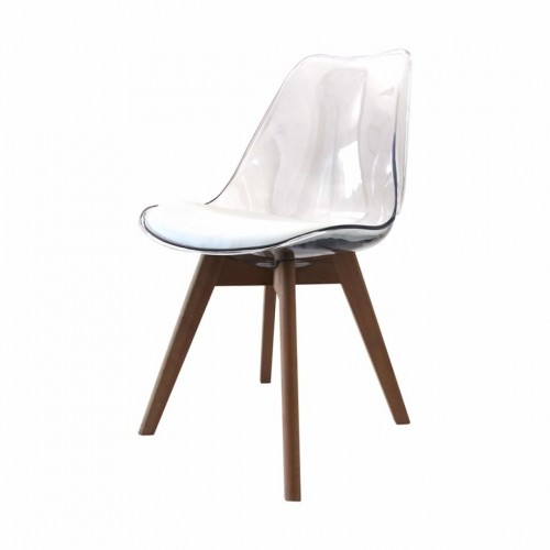 CHAISE ALBA COQUILLE PVC TRANSPARENT ASSISE BLANCHE MATELASSEE 59 X 49 X 80 CM