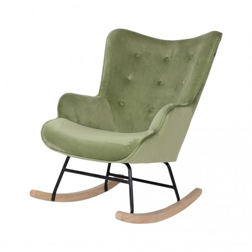 FAUTEUIL A BASCULE ROCKING-CHAIR VELOURS VERT 92 X 100 X 68 CM