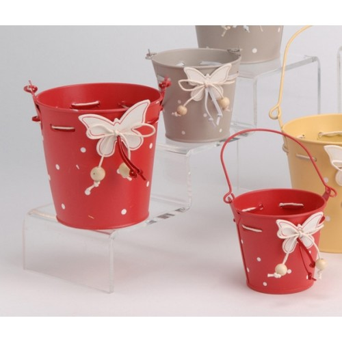 SET DE 2 POTS DECO PAPILLON ROUGE
