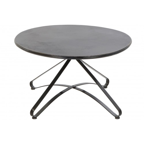 TABLE DE SALON RONDE FER FORGE 80 X 48 CM