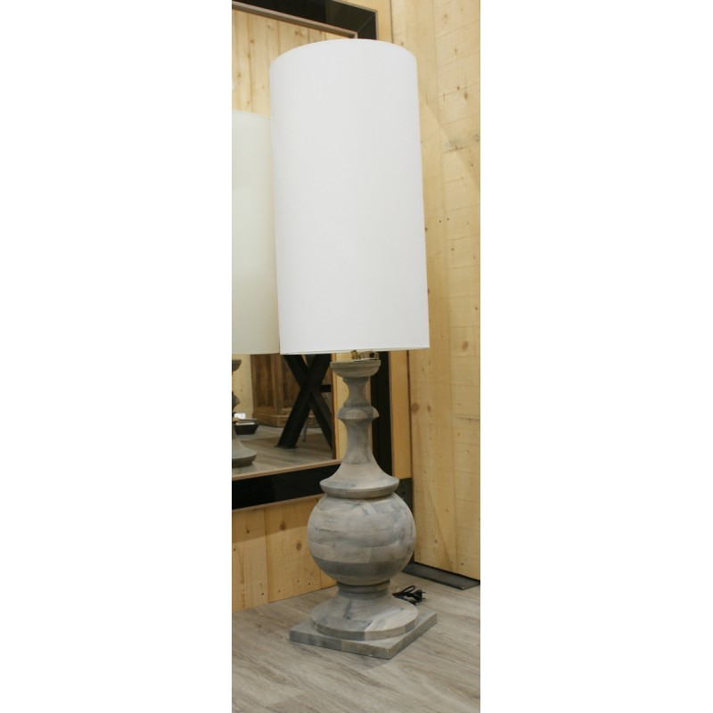 LAMPE PIED BOIS TOURNE ABJ BLANC CYLINDRE 156.5X40 CM