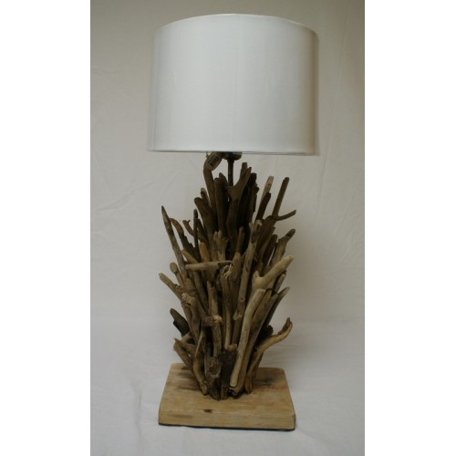 LAMPE EN TECK ABJ CYLINDRE TAUPE 35X45X25 CM