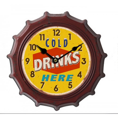 HORLOGE CAPSULE METAL 31 CM DRINKS JAUNE ET ROUGE