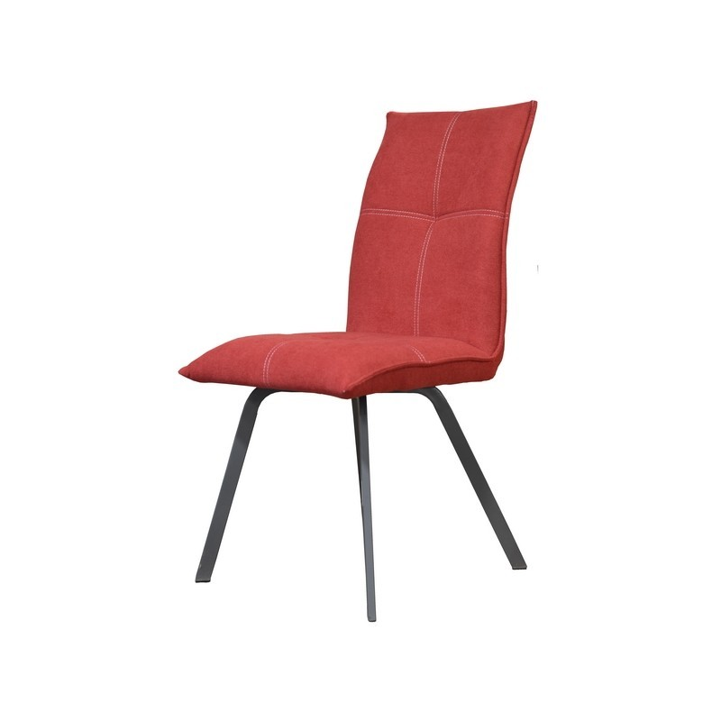 CHAISE ASCOT PIED METAL GRIS MAT ASSISE TISSU ROUGE 45 X 64 X 95 CM