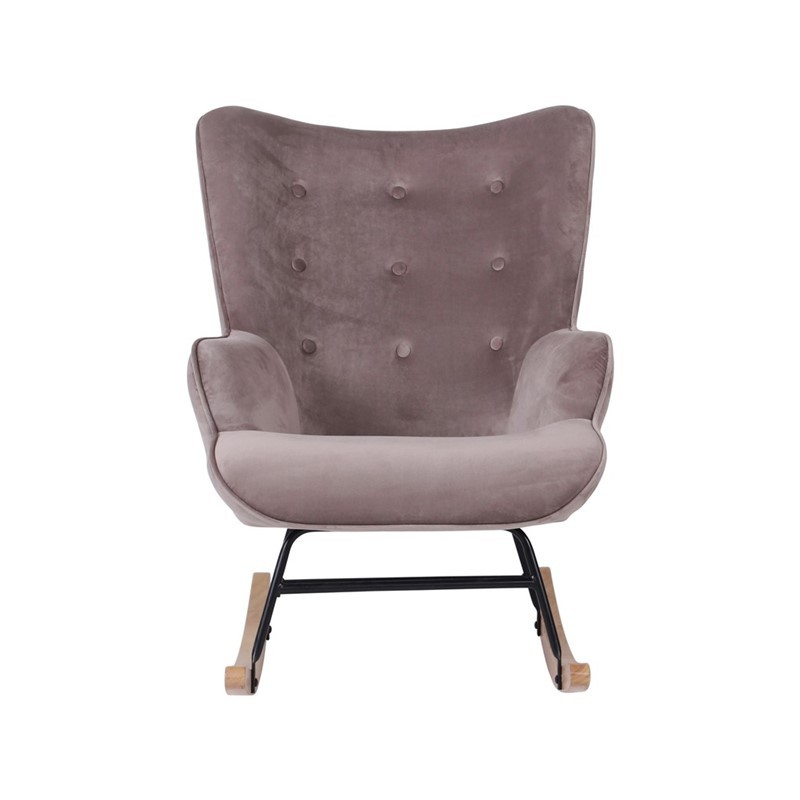 FAUTEUIL A BASCULE ROCKING-CHAIR VELOURS TAUPE 92 X 100 X 68 CM