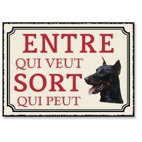 PLAQUE METAL ATTENTION CHIEN 20X30 CM