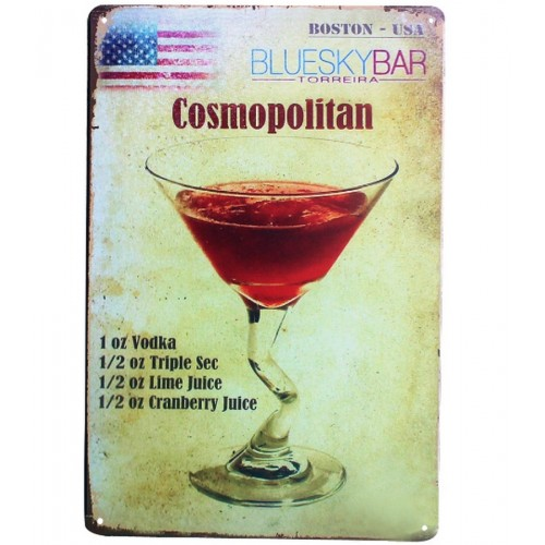 PLAQUE COCKTAIL METAL USA 20X30