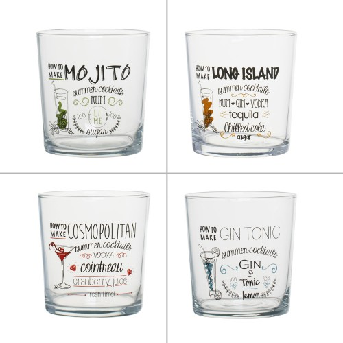 SET DE 4 VERRES COCKTAIL DECORES 38 CL