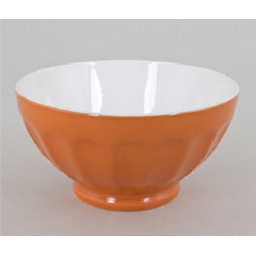 BOL A COTE BICOLORE ORANGE ET BLANC 14 CM