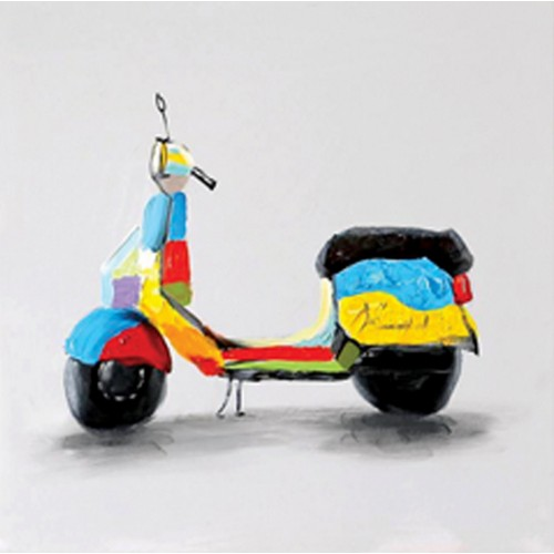 TOILE 30 X 30 CM SCOOTER TRES COLORE