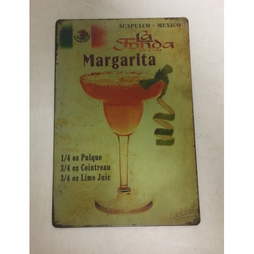 PLAQUE COCKTAIL MARGARITA METAL CUBA 20X30